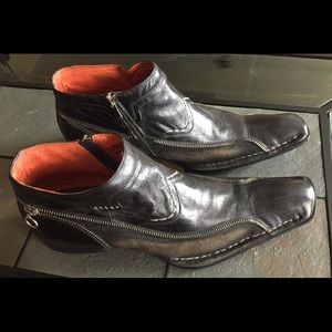 Robert Wayne Rock Boots 11 Leather Zipper Shoes